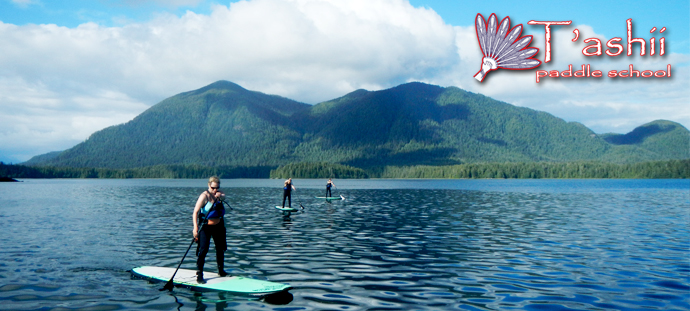 stand up paddleboard tofino inlet with Meares Island in the background